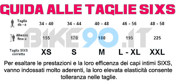 guida alle taglie sixs